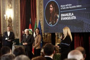 Emanuela Evangelista riceve onorificenza a Palazzo del Quirinale