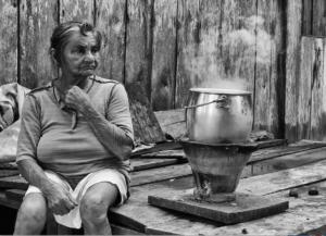old woman-native-pot