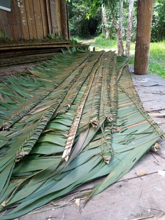straw is woven on wooden strips